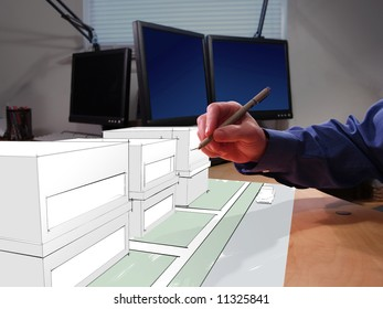 An architect drawing in 3D on his desk
