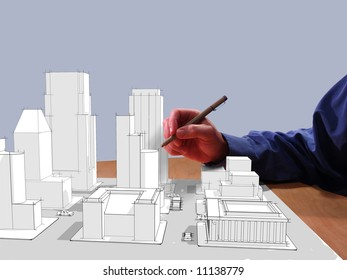 Architect drawing a city in 3d on his desk