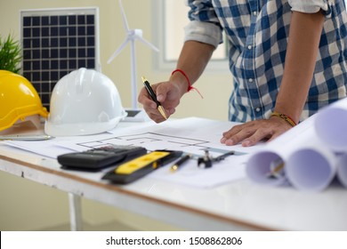 Architect drawings blueprint  at Construction Site.concept