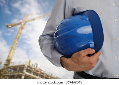 Architect ,engineer, project manager at construction site
