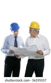 architect engineer two expertise team plan talking hardhat white background