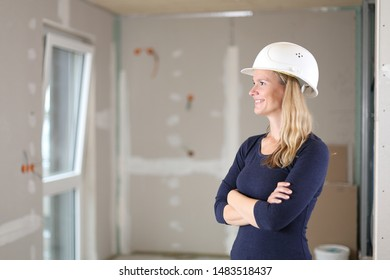 A Architect engineer woman on construction site