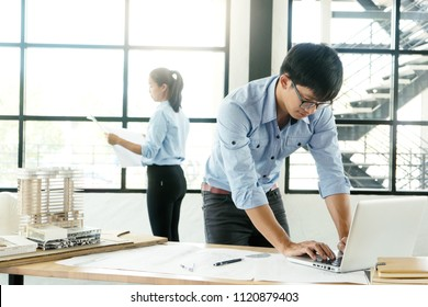 architect or engineer working on table show work hand for business project  - Shutterstock ID 1120879403