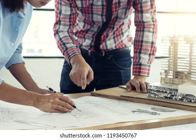 architect or engineer working on table show work hand for business project