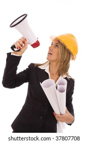 An architect giving orders with a megaphone