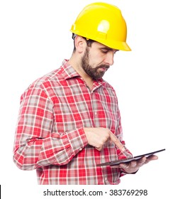 Architect holding a tablet computer, isolated on white background