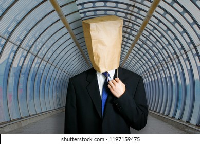 Architect with paper bag on the head