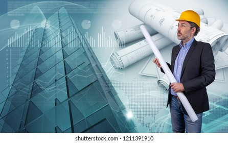 architect and skyscraper structure, 3d illustration