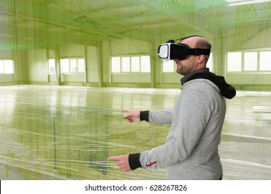Scenario images stock photos vectors shutterstock architect with vr visor exploring industrial building environment with blueprint lines overlaying the real scenario malvernweather Image collections