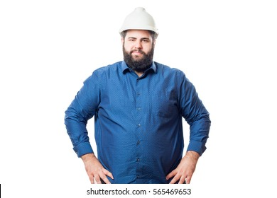 Architect with white helmet and blue shirt isolated on white background