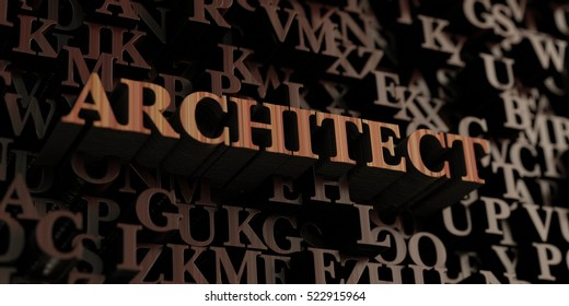 Architect - Wooden 3D rendered letters/message.  Can be used for an online banner ad or a print postcard.