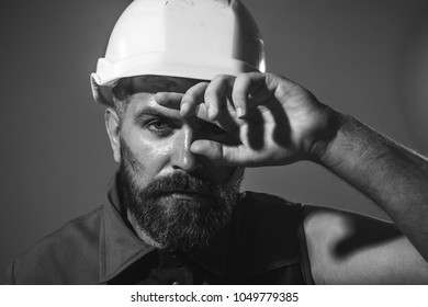 Architect, worker, engineer - work. Industrial worker. Portrait of handsome engineer. Man builder. Close up engineers working. Hard work. Architect builder on construction site. Black and white.