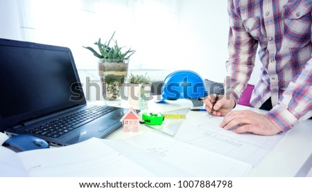 Architect Working Blueprint Office Unrecognizable Male Stock Photo