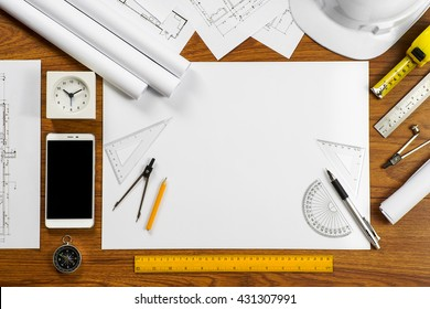 An architect working desk with copy space - Architectural Concept