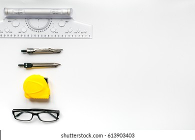 architect working desk on white background top view mock up