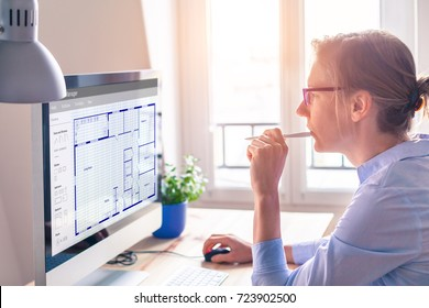 Architect working on computer software to design blueprint floor plan sketch of the construction project, architecture concept