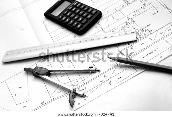 Architect's accessories on plan papers