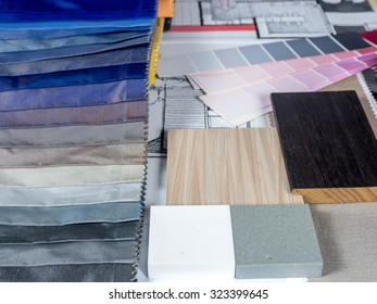 Architects & Interior designers working table with fabric swatch, material sample/ home renovation concept