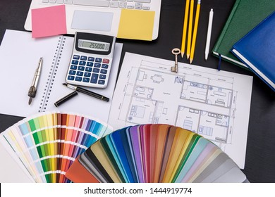Architect's project with color swatch and calculator