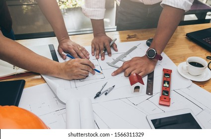 Architects working on project in office, Architects concept.