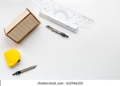 Architects workplace with tools on white background top view mock up