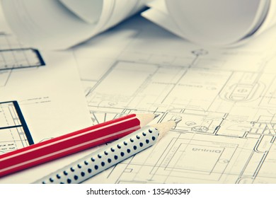 A architect's workspace with plans