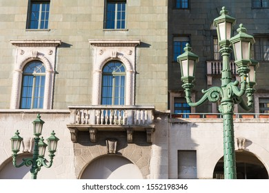 Architectual details of buildings in the city center of Bergamo, Italy