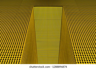 Architectural abstract of many black dots on shiny steel yellow and gold structure