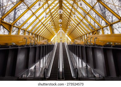 Architectural abstract and perspective view, Pushkin's bridge in Moscow