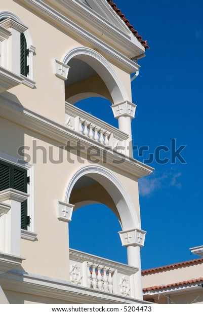 Architectural archways on building in Zakynthos, Greece