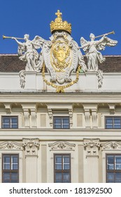 Architectural artistic decorations on Imperial Chancellory Wing (Reichskanzleitrakt) in Hofburg palace, Vienna; Austria. Hofburg was residence of Habsburg dynasty, rulers of Austro-Hungarian Empire.