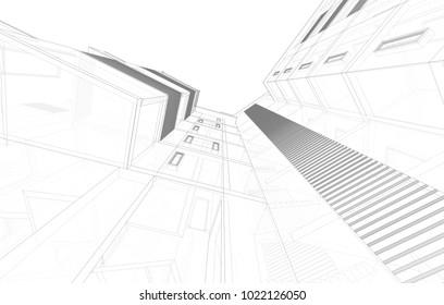 architectural background 3d illustration