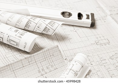 Architectural background with Drawing and various working tools