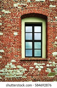 architectural background high window in a brick wall