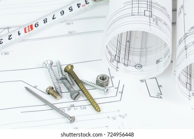 Architectural background plan blueprint roll drawing stock photo architectural background with plan blueprint roll and drawing compass tape measure hammer and malvernweather Choice Image