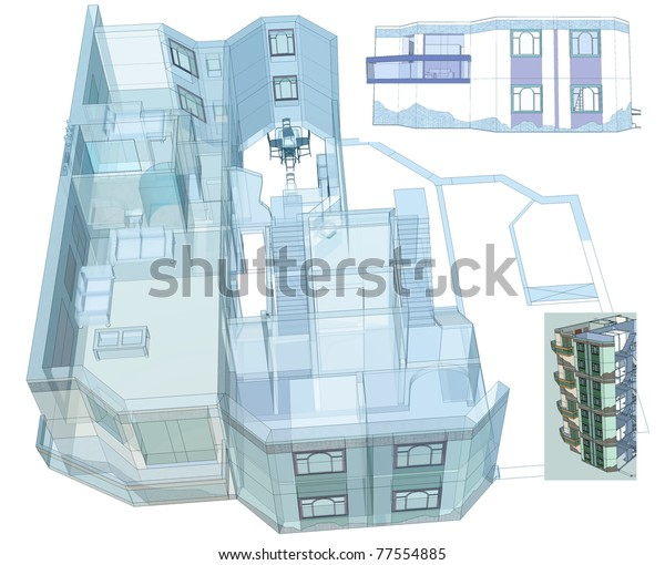 Architectural blue print. Residential apartment building.Two levels apartments.Elevations, 3d. My own sketchy design.
