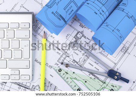 modern architecture blueprints minecraft dream house architectural blueprint drawings of the modern house with computer keyboard blueprints and rolls blueprint drawings modern house computer stock photo