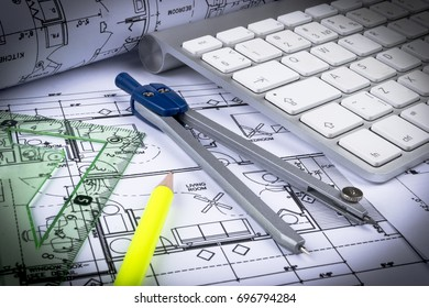 modern architecture blueprints high quality architectural blueprints drawings of the modern house with computer keyboard and blueprint rolls blueprints drawings modern house computer stock photo