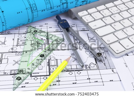 modern architecture blueprints 3 bedroom house architectural blueprints drawings of the modern house with computer keyboard and blueprint rolls blueprints drawings modern house computer stock photo