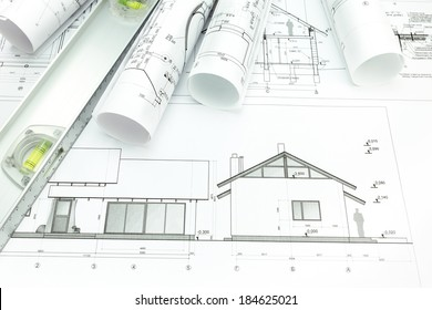Architectural blueprints of new home and building plans rolls