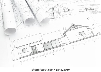 architectural blueprints of new home and construction plans rolls - Home Construction Diagram