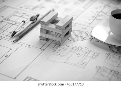 Architectural blueprints on the worktable. Business and construction concept.