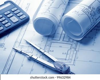 Architectural blueprints rolls