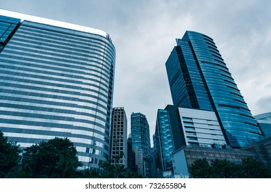 architectural complex against sky in downtown hong kong,china.