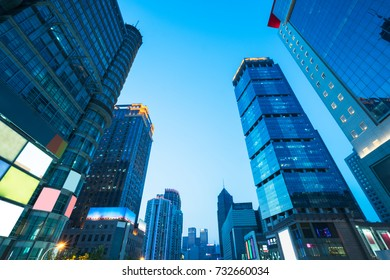 architectural complex against sky in downtown shanghai,china.