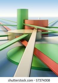 Architectural composition of futuristic city. Sketch art.