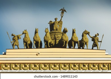 Architectural decor on the top of General Staff Building's Arch in Saint Petersburg. Palace Square. Outdoor shot