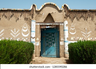 Architectural design in bright colors for a traditional Nubian style house, Aswan, south of Egypt