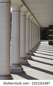 Architectural design of columns in bright sun light.