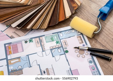 architectural design of the house with tools and furniture catalog colors